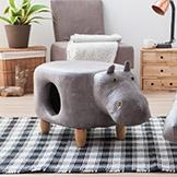 【生活工場】嘟嘟河馬造型收納椅凳