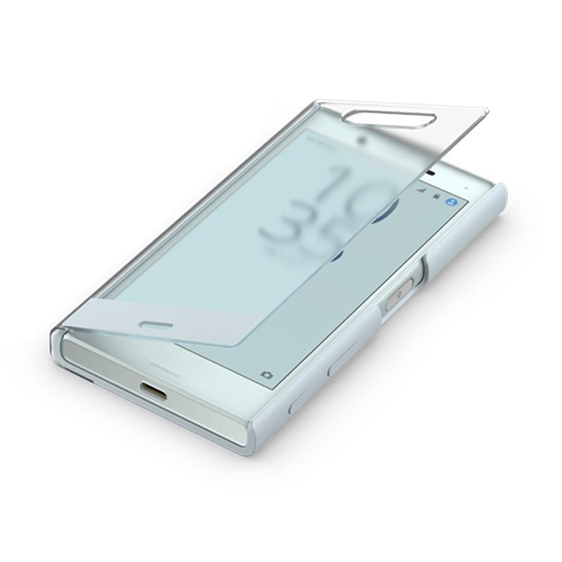 SONY Xperia X Compact 智慧視窗時尚保護套 天瓷藍