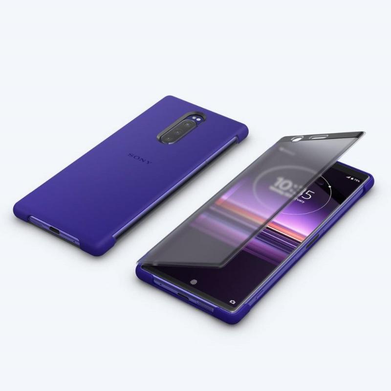 【Xpreia 1實用配件組】 觸控式時尚保護殼 SCTI30 紫 + 高速傳輸線 + 128GB SD卡