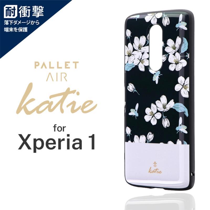 LEPLUS Xperia 1 PALLET AIR Katie B 輕量耐衝擊殼-彩繪黑花
