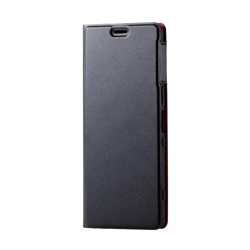 ELECOM Xperia 1/軟皮革殼套/薄型/磁石付/黑