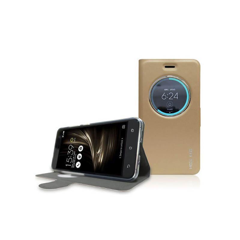 ASUS ZenFone3 (ZE520KL) MEGA KING 視窗式側掀皮套 金