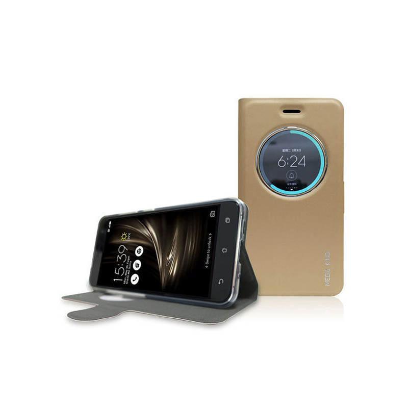 ASUS ZenFone3 (ZE552KL) MEGA KING 視窗式側掀皮套 金
