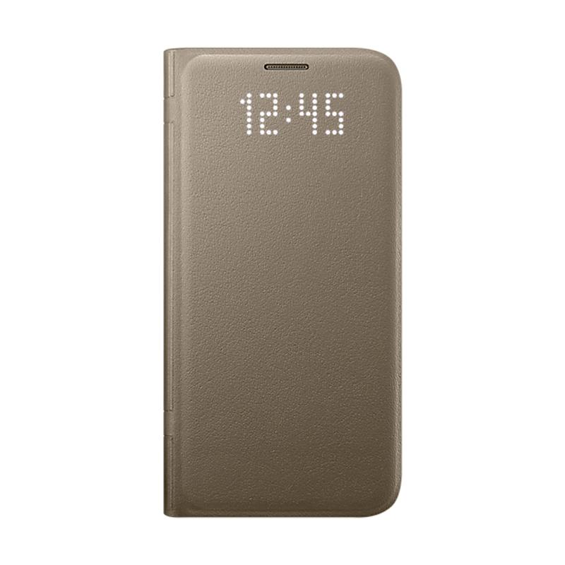 Samsung Galaxy S7 LED皮革翻頁式皮套 金色