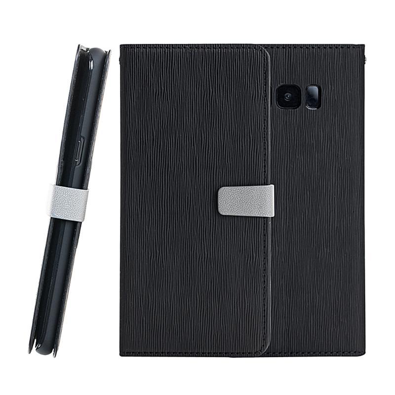 CASE SHOP SAMSUNG Galaxy S8 Plus 木紋側掀皮套-黑