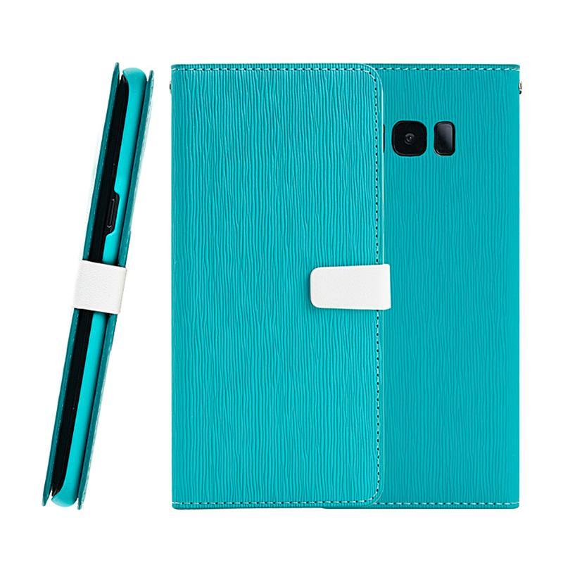 CASE SHOP SAMSUNG Galaxy S8 Plus 木紋側掀皮套-藍綠