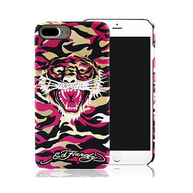 ED HARDY iPhone7 Plus 手機殼- 粉紅迷彩
