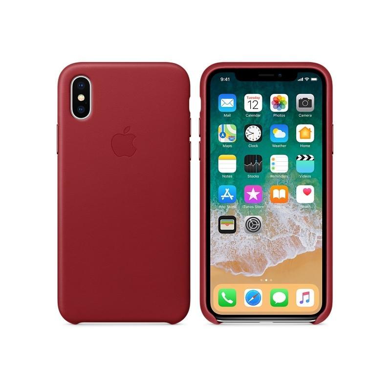 APPLE原廠 iPhoneX 皮革護套 紅