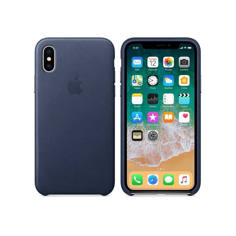 APPLE原廠 iPhoneX 皮革護套 午夜藍