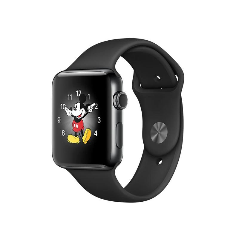 Apple Watch S2 42mm 太空黑色不鏽鋼 黑色運動錶帶
