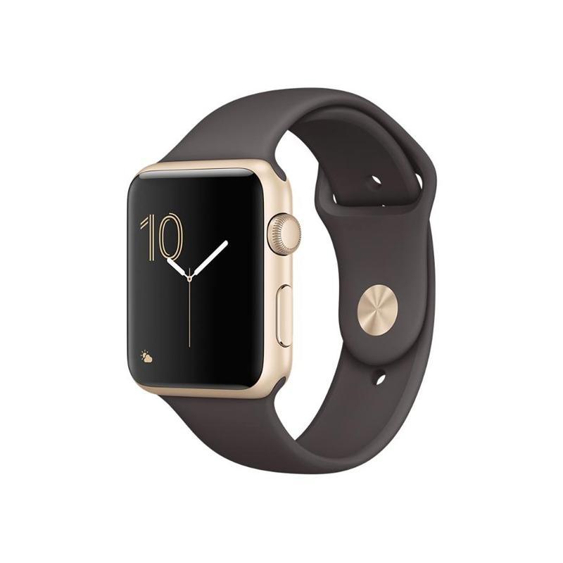 Apple Watch S2 金色鋁金屬 可可色運動錶帶 (42mm )