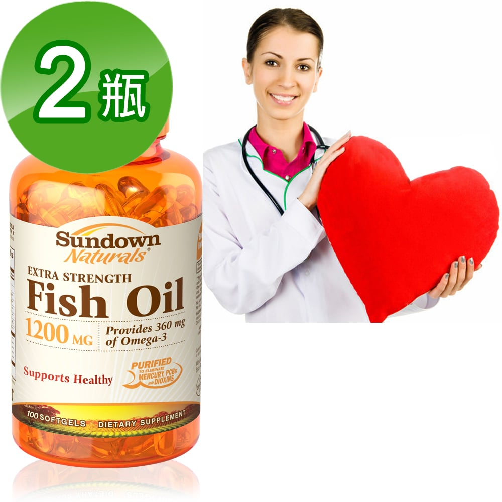 美國Sundown日落恩賜 天然精萃深海魚油1200mg(100粒/瓶)2入組
