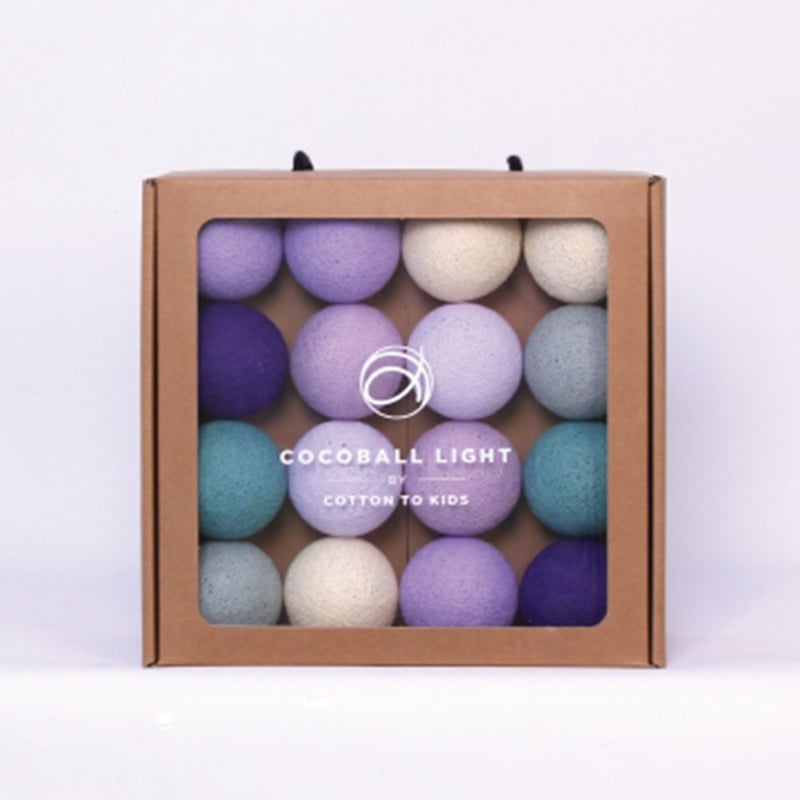 【韓國 Cotton to Kids】Cocoball LED氣氛棉球燈串 (rustic lavender)